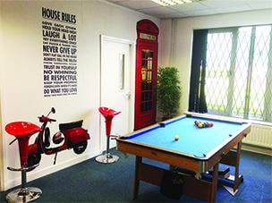 SG World Staff Lounge with Pool Table