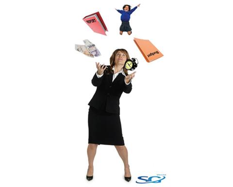 Woman Juggling Lots of Items