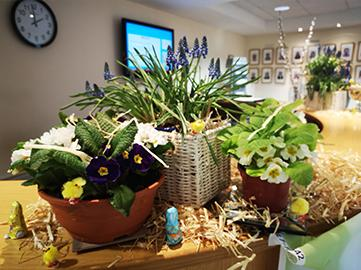 Receotion decorated for Easter - SG World Crewe Office