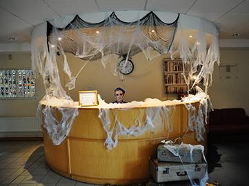 SG World Reception decorated for Halloween - SG World Crewe Office